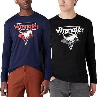 Wrangler hombres de manga larga moderna Americana Crew cuello algodón camiseta camiseta Top