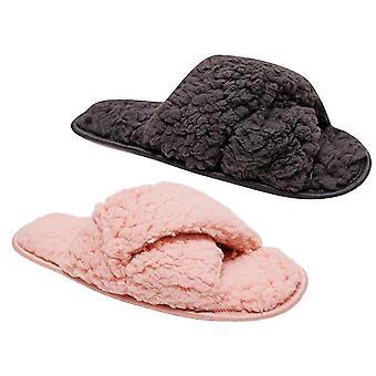 Loungable Glamorous Soft Faux Fleece Fur Peeptoe Mule Slippers with Non-Slip Hard Sole Pink / Grey