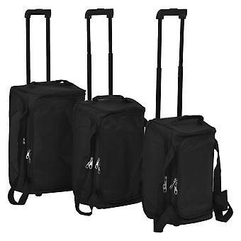 3-pcs. Soft Luggage Trolley Set Black
