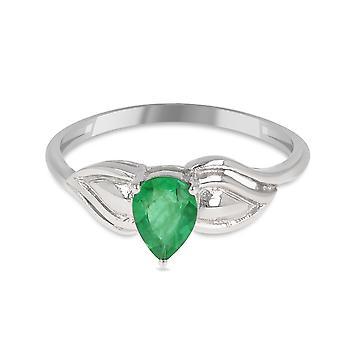 ADEN 925 Sterling Hopea Smaragdin muotoinen päärynän muotorengas (id 4502)