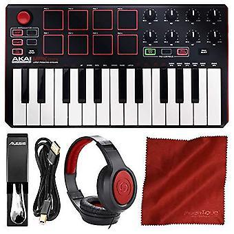 Akai professional mpk mini mkii 25-key ultra-portable usb midi drum pad & keyboard controller (black on white) with headphones