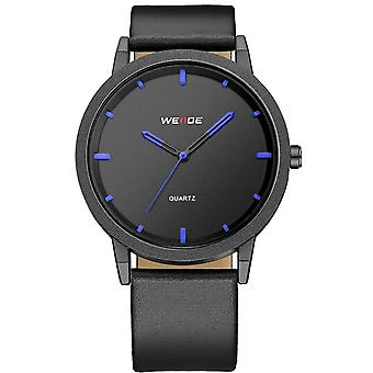 WEIDE WD001 Casual Style Luxury Men Wrist Watch Véritable Cuir Strap Quartz