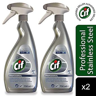 Cif Professional Pro Formula Stainless Steel and Glass Cleaner 750ml, 2pk