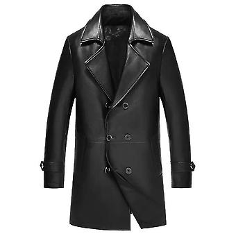 Spectra mens fashion double breasted leather blazer coat