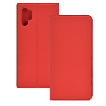 Elektrisch gepresste schlichte Textur Ultradünne magnetische Saug-TPU + PU Ledertasche mit Halter & Kartensteckplatz für Galaxy Note10+ (Rot)