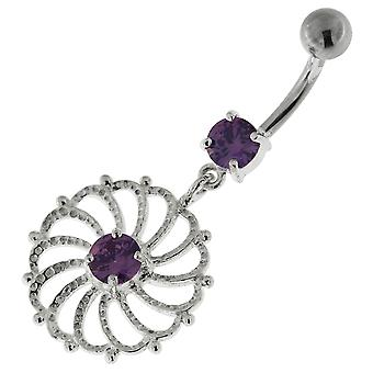 Purple Crystal Stone Fancy Swirl Flower Cut out Dangling Sterling Silver Belly Bars Piercing
