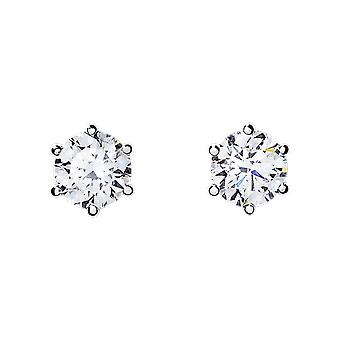 Earrings magnetic with prong set cubic zirconia 6mm or 5mm- sold as a pair bj31756
