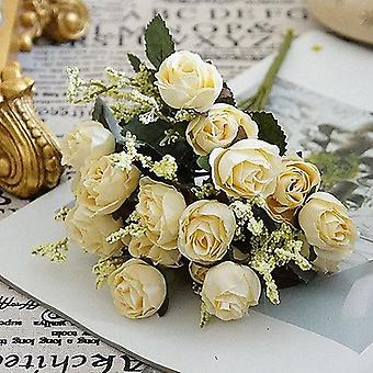 Small Artificial Rose Flowers, Flannel Diy Fake Floral For Wedding Wall, Table