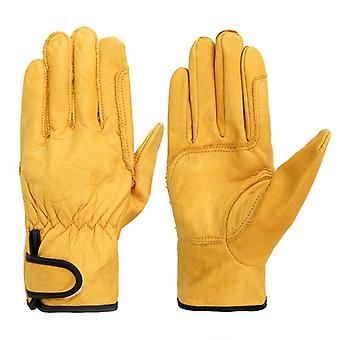 A Grade Cowhide Yellow Ultrathin Leather Safety Men's Work Gloves