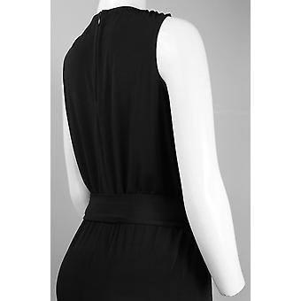 Sleeveless V-neck Bow Tie Waist Jersey Jumpsuit