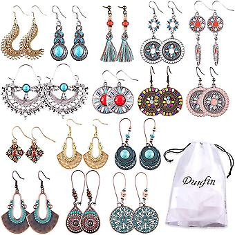 Duufin 15 Pairs Vintage Dangle Earrings Bohemian Earrings for Women Girls