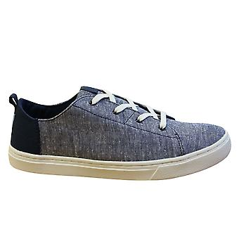 Toms Lenny Chambray Lace Up Youths Kids Trainers Textile Navy Slub 10010730