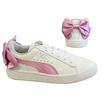 Puma Basket Bow Patent AC PS White Pink Lace Up Kids Trainers 367622 02 B86D