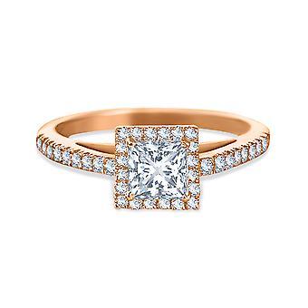 خاتم الزفاف سوليتير الماس الأميرة قطع 1 قيراط على الذهب 18K