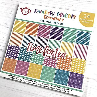 Time For Tea Rainbow Brights 6x6 Inch Paper Pad