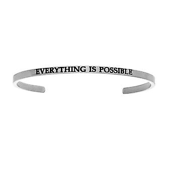 """Intuitions Stainless Steel EVERYTHING IS POSSIBLE Diamond Accent Cuff  Bangle Bracelet, 7"""""""