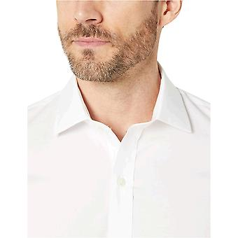 "Brand - Buttoned Down Men's Xtra-Slim Fit Spread-Collar Stretch Poplin Non-Iron Dress Shirt, White 17"" Neck 35"" Sleeve"