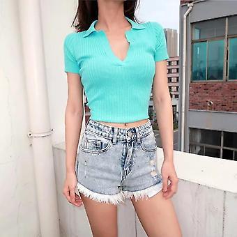 Női rövid ujjú vágott póló ingek