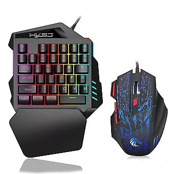 Ergonomic Multicolor Backlight One-handed Game Keyboard Mouse Set  (full Set)