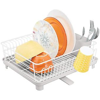 mDesign 3-Piece Dish Drainer  ; Dish Rack with Cutlery Tray and Removable Draining Board