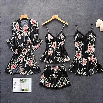 Spring Autumn Women Silk Pajamas Sets With Chest Pads Flower Print Sleepwear