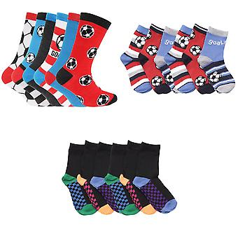 FLOSO Childrens Boys Football & Stripe Pattern Casual Socks (Pack Of 6)