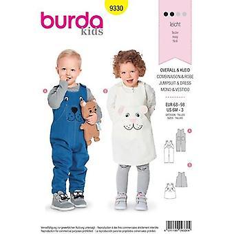 Burda sömnad mönster 9330 småbarn klänning & jumpsuit storlek 6m-3 oklippt