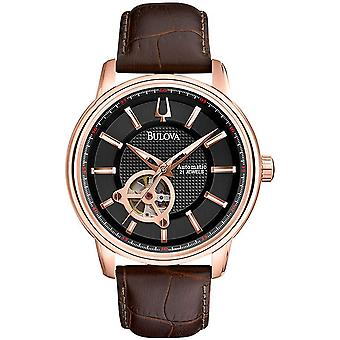 Bulova Automatic Brown Leather Mens Watch 97A109