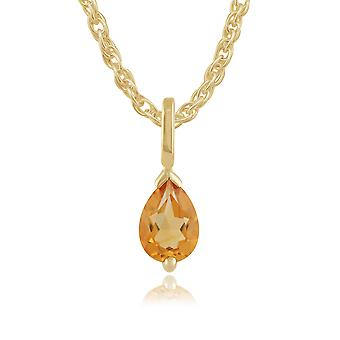 Classic Pear Citrine Pendant Necklace in 9ct Yellow Gold 22544