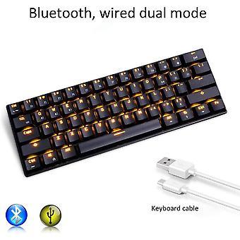 Gaming-Tastatur, rk61 Dual-Mode-Bluetooth mechanische Tastatur (verdrahtet / drahtlos), mit LED-Hintergrundbeleuchtung, Standby für 360 Stunden, für Computer, Handy, Tablet (weiß)
