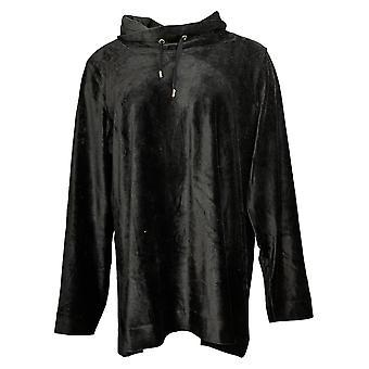 Susan Graver Women&s Top Long Sleeve Tunika W/ Mock Neck Black A383154