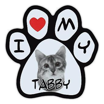 """Magnet, Bildepote, Jeg elsker Tabby, 5.5"""" X 5.5"""""""