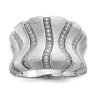 925 Sterling Silver Brushed Open back and CZ Cubic Zirconia Simulated Diamond Brilliant Embers Ring Jewelry Gifts for Wo