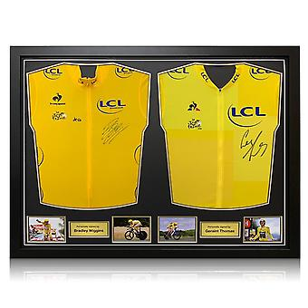 Bradley Wiggins And Geraint Thomas Signed Jerseys. Dual Framed