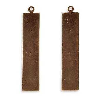 Vintaj Natural Brass Altered Blank Stamping Tag Pendants 41x8.5mm (2)