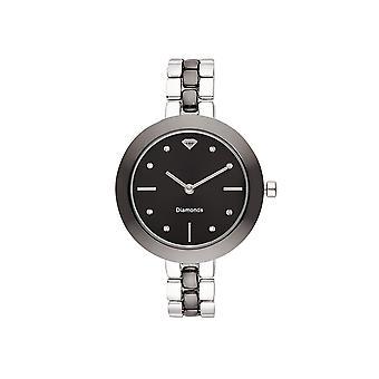 Dameshorloge Valentine Diamonds 0,024 karaat - Zwarte wijzerplaat Zilveren metalen armband