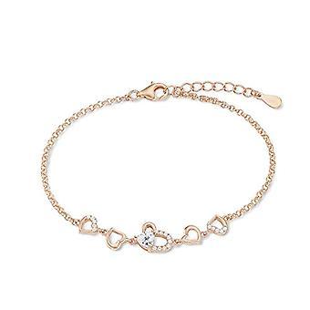 Amor - Bracciale da donna, 17 + 3 cm, a forma di cuore, in argento 925, placcato oro rosa, con zirconi bianchi
