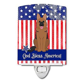 Caroline schätze patriotische Usa deutschen Schäferhund Keramik Nachtlicht, 6 x 4, mehrfarbig