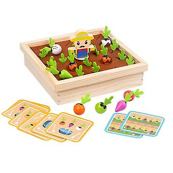 Wooden Toy Baby Pull Carrot Shape Matching Color Size Cognitive Puzzle Early Learning Education