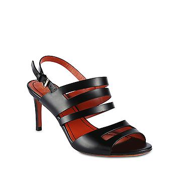Santoni Women's heeled sandals with bands in black leather with ankle strap closure
