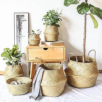 Osier Panier de rangement Paniers de fleurs Blanchisserie Panier décoratif Rotin Pot de fleurs Jardinières Jardinières Organisateur domestique
