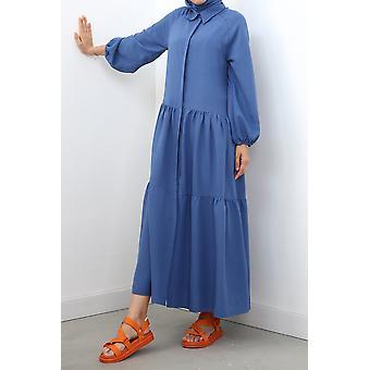 Comfy Buttoned Raglan Sleeve Dress