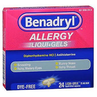 Johnson & Johnson Benadryl Dye Free Allergy Relief Liqui Gels, 24 ct