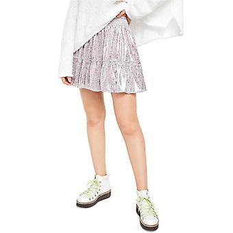 Free People Womens In A Bubble Printed Tiered Skirt
