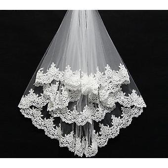 قصيرة مشط الدانتيل Appliqued حافة تول الحجاب الزفاف