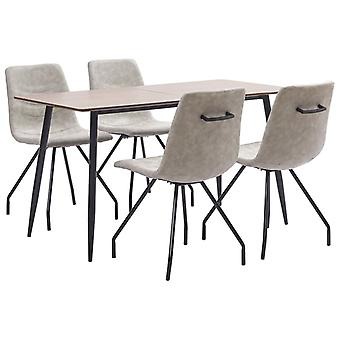 vidaXL 5 pcs. Dining group grey faux leather