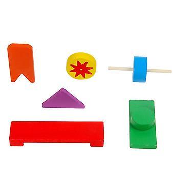الجهاز الخشبي كتل قوس قزح لعبة مونتيسوري الملحقات التعليمية