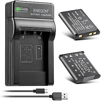 NP-45 NP-45S Replacement Battery (2 Pack) and Dual USB Charger Kit for Fujifilm INSTAX Mini 90 and