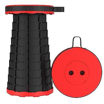 Outdoor folding telescopic stool£?portable Adjustable stool for fishing(Red)
