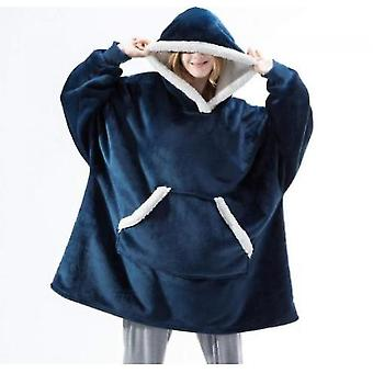 Women's Pajamas Can Wear Lamb Wool Lazy Blanket Hooded Sweater(Blue)